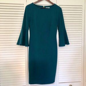 Calvin Klein bell sleeve sheath dress, Cypress, 6